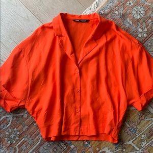 Zara orange button up shirt - Sm